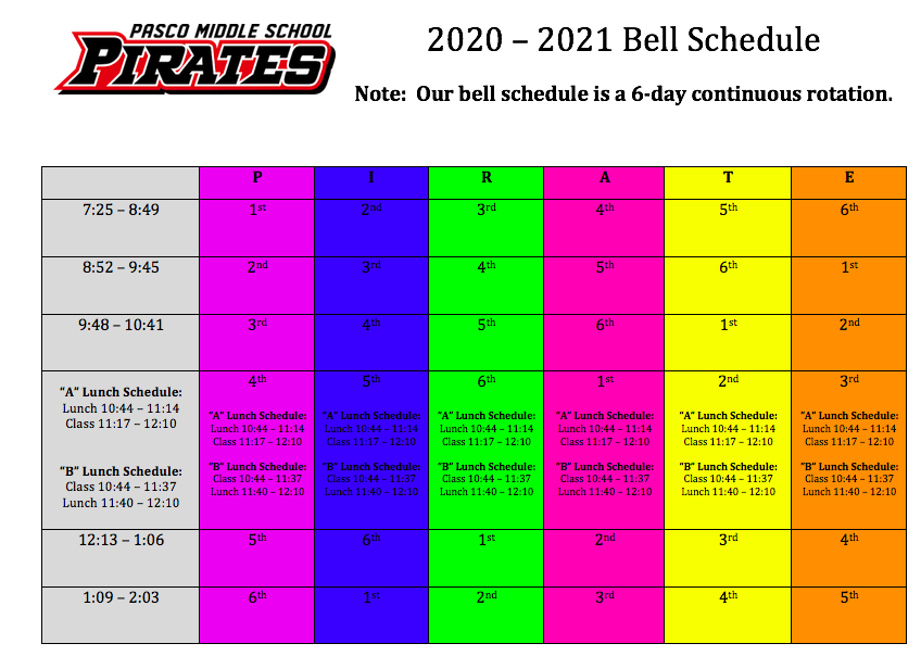 6 Day Rotating Bell Schedule