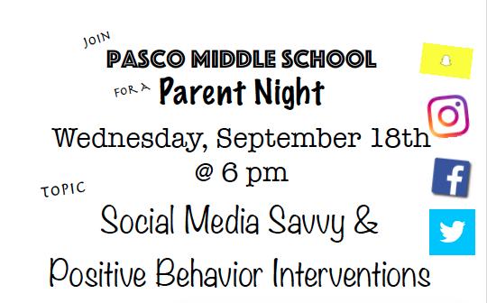 Parent Night ~ September 18th